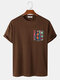 Mens Colorful Geo Print Patched Pocket Loose Short Sleeve T-Shirts - Brown