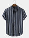 Mens Stripe Curved Hem Short Sleeve 100% Cotton Casual Henley Shirts - Blue