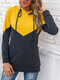 Patchwork Hooded Long Sleeve Casual Hoodies For Women - Yellow