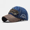 Embroidered Letters Stitching Made Old Washed Denim Baseball Cap - Navy