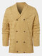 Mens Solid Color Knitted Double Breasted Thick Warm Sweater Cardigan - Khaki