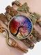 Vintage Tree Of Life Theme Pattern Butterfly Geometric Shape Hand-braided Glass PU Alloy Multi-layer Bracelet - #02