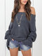 Casual Solid Color Off-the-Shoulder Knitted Sweater - Dark Grey