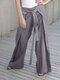 Women Lace-up Elastic Waist Solid Color Casual Pants - Grey