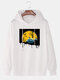 Mens Funny Pumpkin Graphic Print Solid Loose Pullover Hoodies - White