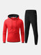 Mens Stretch Cotton Contrast Color Hoodie Jogger Pants Sport Fitness Casual Two-Piece Set - Red
