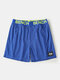 Mesh Solid Color Letter Printing Patchwork Mesh Breathable Mini Lounge Shorts - Blue