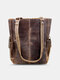 Vintage Rivet Stitch Detail Tote Double Side Pockets Shoulder Bag Clear Fabric Multifunction Versatile Shopping - Coffee