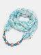 Vintage Chiffon Women Scarf Necklace Beaded Pendant Lattice Flowers Pattern Silk Scarf - #11
