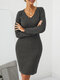 Solid Color V-neck Long Sleeve Casual Dress For Women - Dark Gray