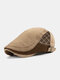 Collrown Men Cotton Patchwork Color-block Side Argyle Pattern Stitching Casual Retro Berets - Yellow