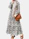 فستان إسلامي كاجوال بأكمام طويلة مكشكش بطبعة الأزهار للنساء - أبيض