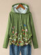 Flower Butterfly Printed Long Sleeve Plus Size Button Hoodie For Women - Green