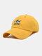 ユニセックス コットン ソリッド カラー サメの手紙刺繍サンシェード ファッション ベースボール キャップ - 黄