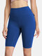 Women Solid Breathable Skinny Fit High Waist Fitness Sports Shorts With Flap Pocket - Blue