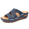 LOSTISY Plus Size Handmade Flower Embroidered Opened Toe Comfortable Casual Sandals - Blue