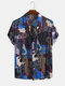 Mens Ethnic Style Summer Thin Short Sleeve Printing Loose Casual Shirt - Blue