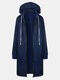 Solid Color Zip Front Hooded Casual Coat For Women - Blue