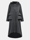 Solid Color Pleated Stiching Front Zipper Irregular Jacket Hooded Coat - Grey