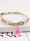 Vintage Handmade Dried Flowers Glass Ball Alloy Ceramic Bracelet - #13