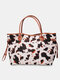Cow Black Bright Leopard Print Lightweight Canvas Large Capacity Tote Shoulder Bag - White