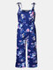 Mommy And Me Matching Outfit Floral Print Sleeveless Casual Jumpsuit - Blue2