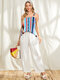 Multi-striped Print Patchwork Shoulder Strap Buttons Casual Camis - Blue