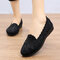 Women Stitching Soft Sole Slip On Casual Flat Loafers - Black