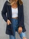 Solid Color Pocket Hooded Plush Casual Cardigan For Women - Navy