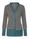 Striped Long Sleeve Patchwork Casual Cardigan For Women - Blue