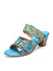 SOCOFY Retro Calico Painted Leather Comfy Slip On Casual Mule Hook Loop Chunky Heel Sandals - Blue