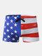 Men Print Swim Trunks America Flags Drawstring Letters Swimwear - As Picture