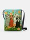 Four Lovely Psychedelic Cats Flower Print Pattern Comfy Waterproof Multi-Pockets Magnetic Clasp Crossbody Bag - Green