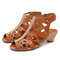 SOCOFY Soft Genuine Leather Pure Color Stitching Flowers Pattern Adjustable Hook Loop Sandals