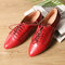 Large Size Women Casual Comfy Pointed Toe Slip On Flat Loafers - Red