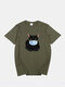 Mens 100% Cotton Funny Cat Printed Short Sleeve Graphic T-Shirt - Green