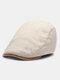メンズウールピンストライプコントラストカラーハットつばオールマッチ暖かさベレー帽フラットキャップ - ベージュ