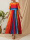 Bohemian Striped Patchwork Print Empire Waist Plus Size Maxi Dress - Red
