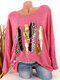 Leopard Print O-neck Long Sleeve Plus Size Casual T-shirt - Rose