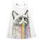 Cat Print Strapless shoulder Woven Dresses For 10-15Y