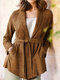 Women Solid Color Knotted Pocket Lapel Collar Long Sleeve Coat - Brown