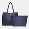 Women 2 PCS Multi-pocket Large Capacity Removable Key Multifunctional Handbag Tote - Navy