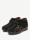 Women Casual Warm Embroidery Notional Pattern Ankle Snow Cotton Boots - Black