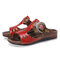 SOCOFY Retro Leather Buckle Strap Embossed Floral Stitching Flat Slides Sandals - Brown