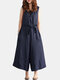 Women V-neck Belted Flare  Overalls Jumpsuits