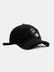 ユニセックスコットンブロークンホールレター漫画スマイルフェイス刺繡布ラベルオールマッチ日焼け止め野球帽 - 黒