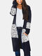 Leopard Printed Long Sleeve Patchwork Cardigan For Women - Black