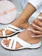 Women Large Size Comfy Flat Clip Toe Outdoor Sandals - White