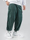 Mens Solid Corduroy Drawstring Cuff Cargo Pants With Pockets - Green