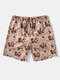 Mens Geometry Print Ethnic Style Swim Trunk With Pocket - Brown